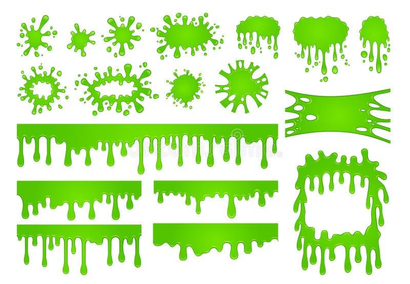 Kreskówka ciecz szlamowy Zielona lepidło farba opuszcza, strasznego pluśnięcia rabatowy i straszny Halloween plamy wektoru set royalty ilustracja
