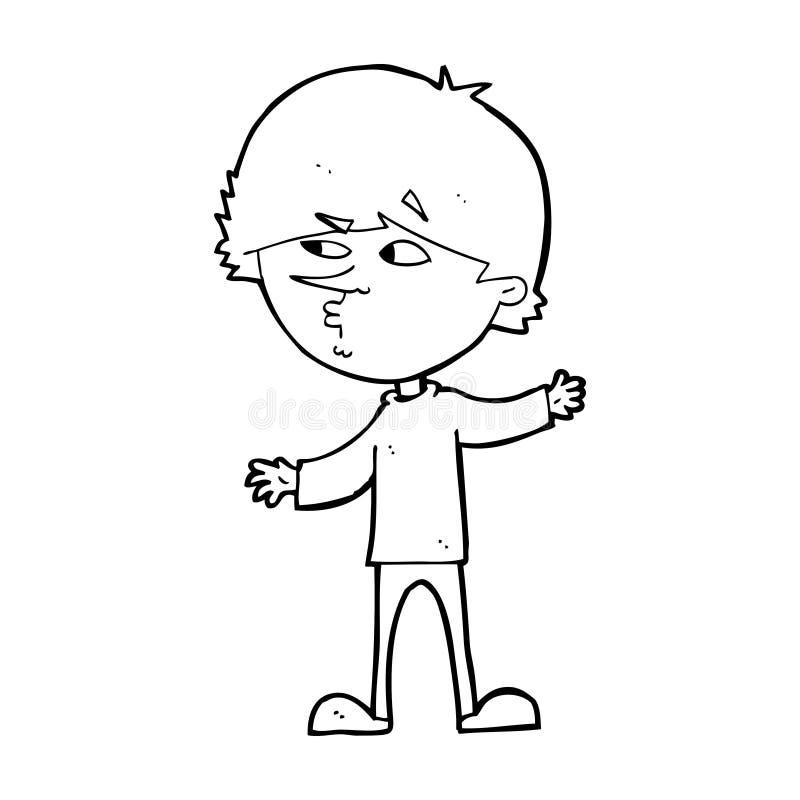 kreskówka ciekawy mężczyzna royalty ilustracja