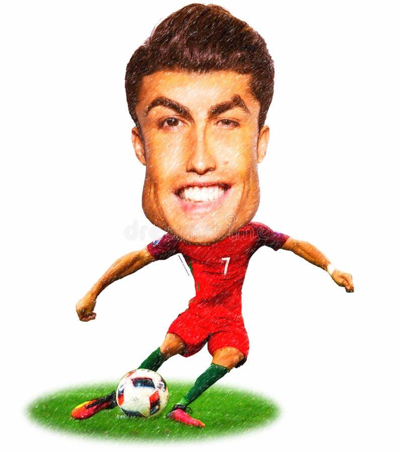 Kreskówka Cristiano Ronaldo jeden wielka futbolowa piłka nożna ilustracji