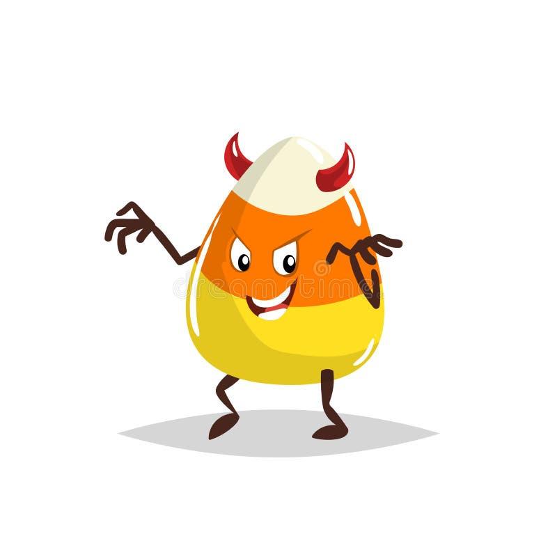 Kreskówka cukierku kukurudzy diabeł costumed charakteru Halloween humanizował słodkiego symbol dla partyjnego plakata i dekoraci ilustracja wektor