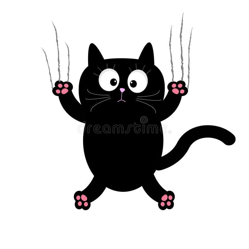 Kreskówka czarnego kota pazura narysu szkło Biały tło odosobniony Płaski projekt ilustracja wektor
