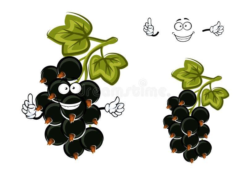 Kreskówka czarnego rodzynku owoc z jagodami ilustracji