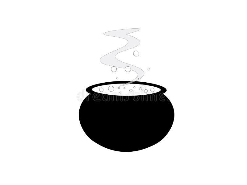 Kreskówka czarny i biały garnek z kontrparą ilustracji