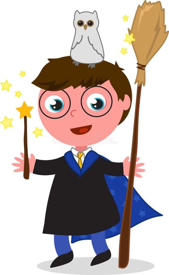Kreskówka czarownika chłopiec wektor ilustracji