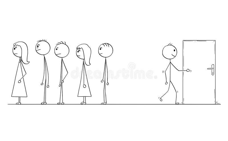 Kreskówka czekanie w linii, kolejce lub Patrzeć dla Innego sposobu ilustracji