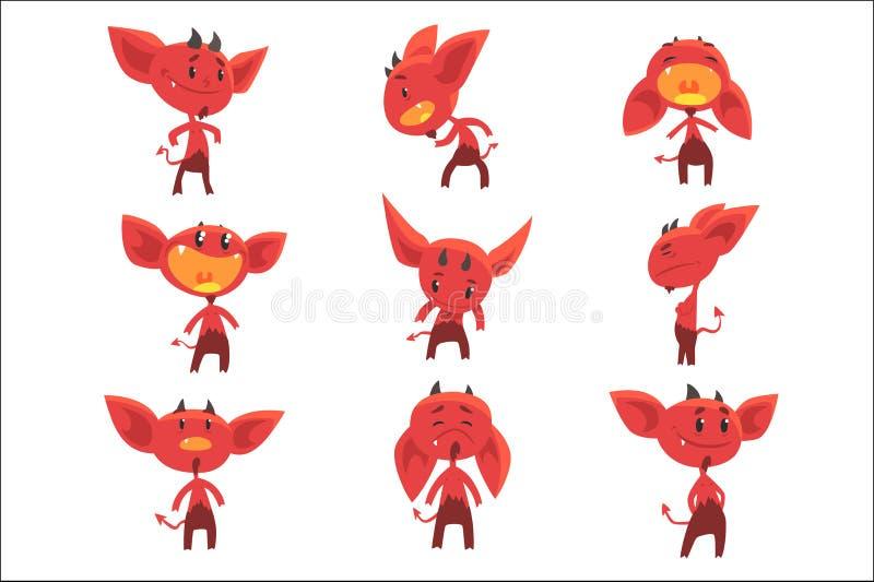 Kreskówka czerwonego diabła śmieszni charaktery z różnymi emocjami ustawiać wektorowe ilustracje ilustracja wektor