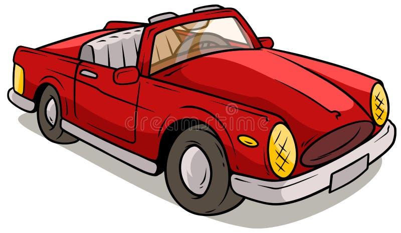 Kreskówka czerwony retro samochód ilustracja wektor