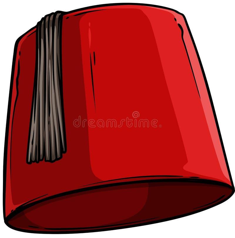 Kreskówka czerwony Turecki kapeluszowy fez z czarną kitką royalty ilustracja