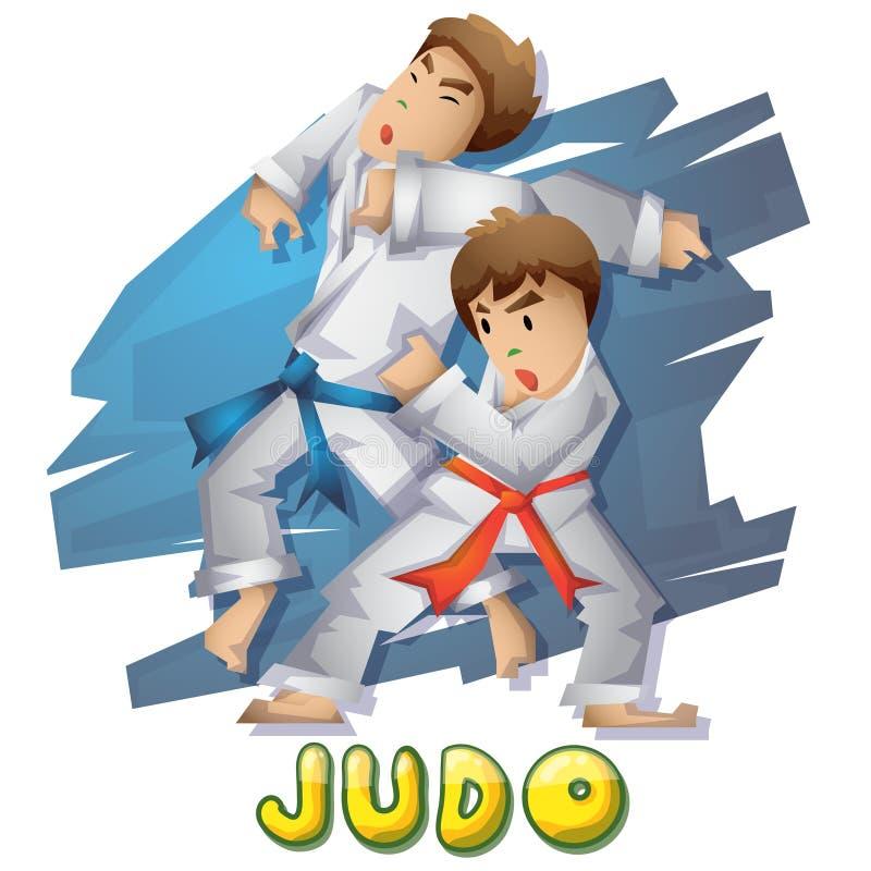 Kreskówka dżudo wektorowy sport z oddzielonymi warstwami dla gry i animaci ilustracja wektor