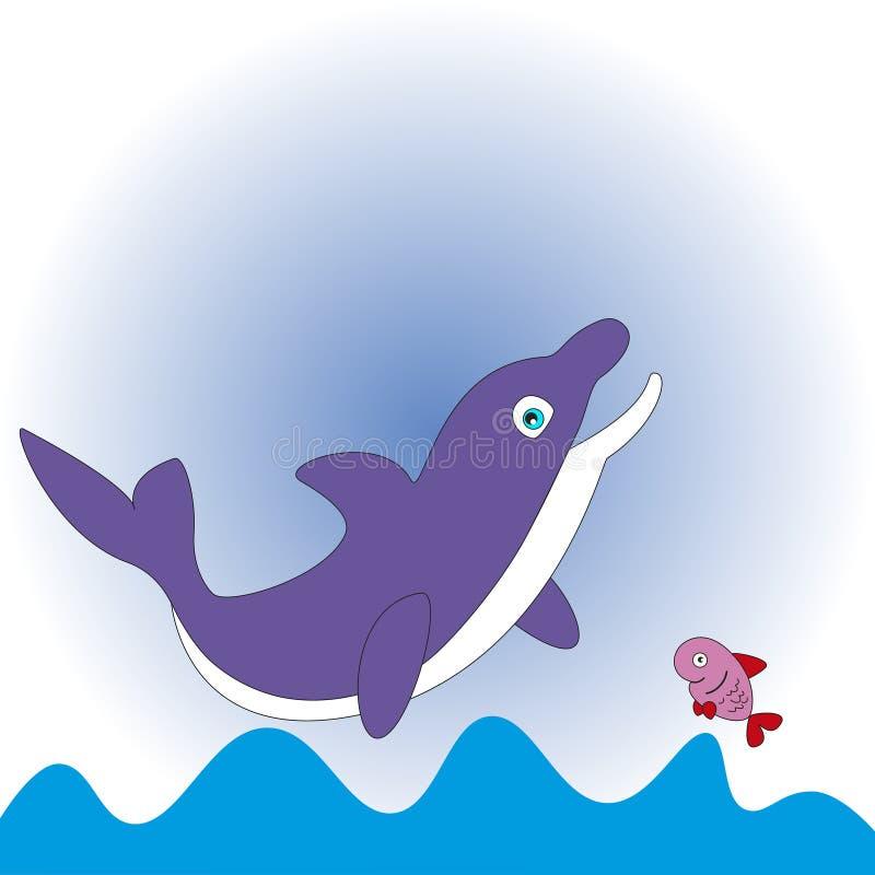 Kreskówka delfin i mała ryba royalty ilustracja
