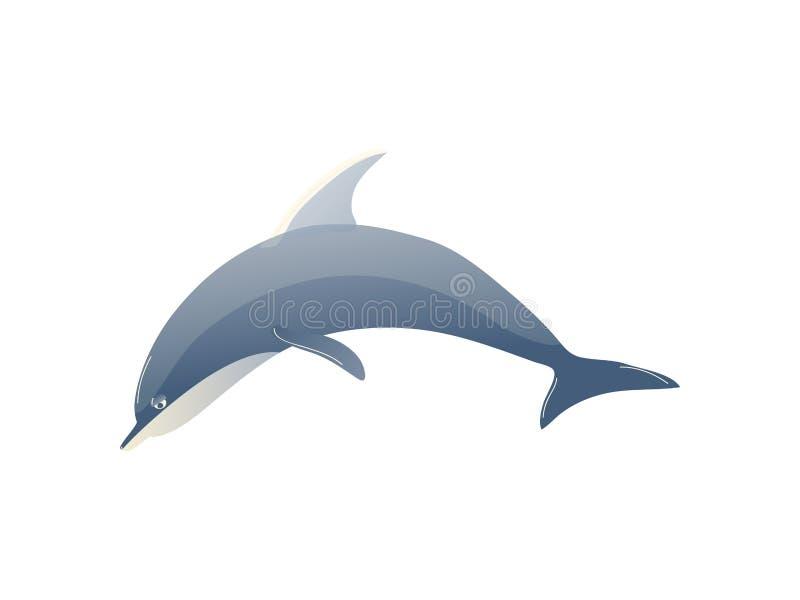 Kreskówka delfin na białym tle Wodny życie royalty ilustracja