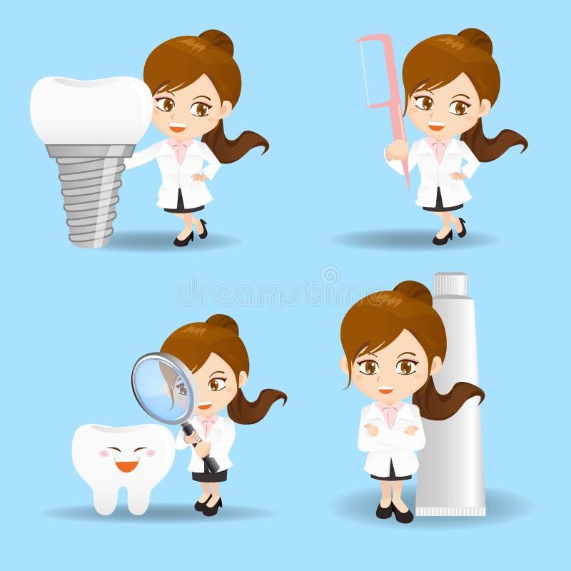 Kreskówka dentysty doktorska kobieta