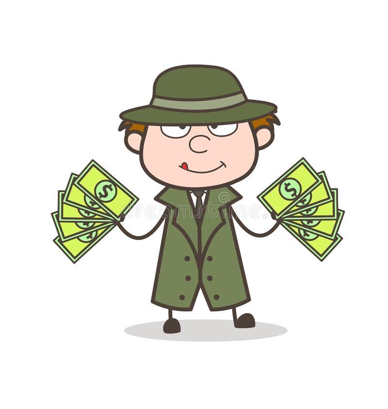 Kreskówka detektyw z udziałami pieniądze wektoru ilustracja ilustracja wektor