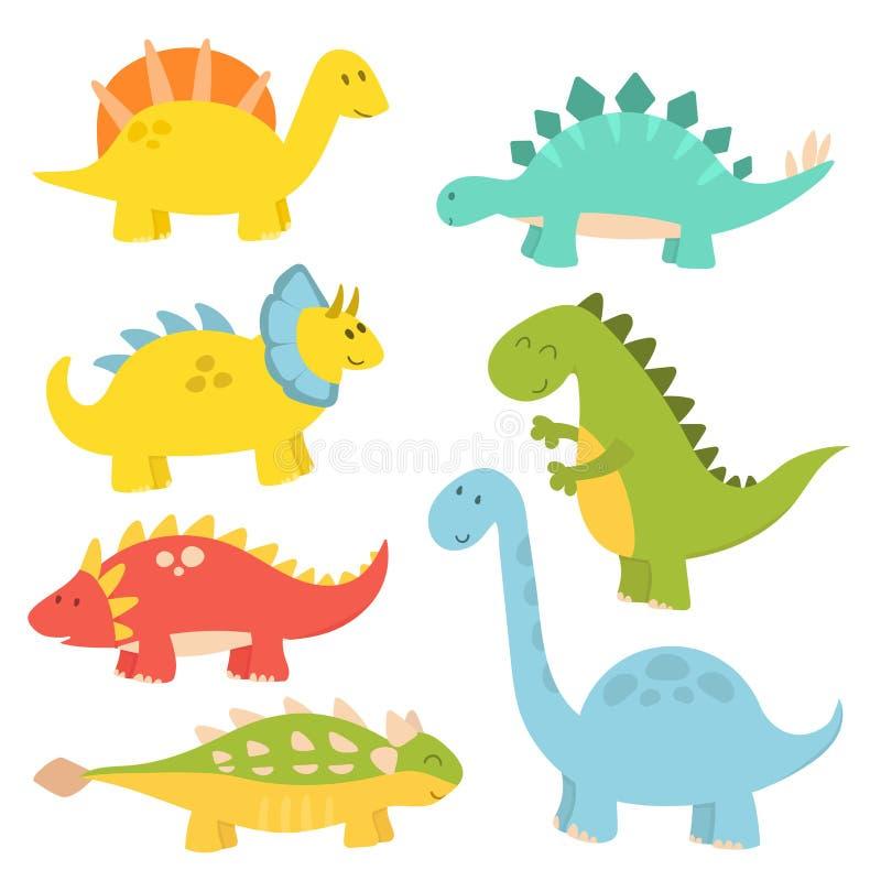 Kreskówka dinosaurów potwora Dino charakteru gada wektorowego ilustracyjnego zwierzęcego prehistorycznego drapieżnika fantazi jur ilustracja wektor