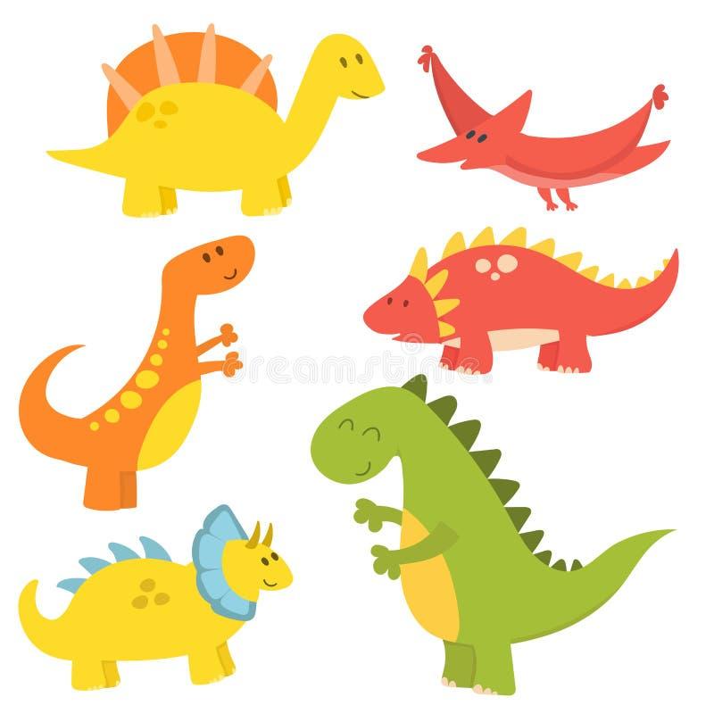 Kreskówka dinosaurów potwora Dino charakteru gada wektorowego ilustracyjnego zwierzęcego prehistorycznego drapieżnika fantazi jur royalty ilustracja