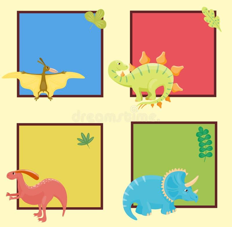 Kreskówka dinosaurów potwora karty wektorowego ilustracyjnego szablonu Dino charakteru gada zwierzęcy prehistoryczny drapieżnik royalty ilustracja