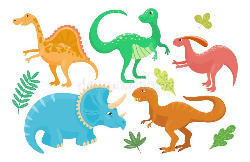 Kreskówka dinosaurów wektorowa ilustracja odizolowywał potwora Dino charakteru gada zwierzęcego prehistorycznego drapieżnika jura royalty ilustracja