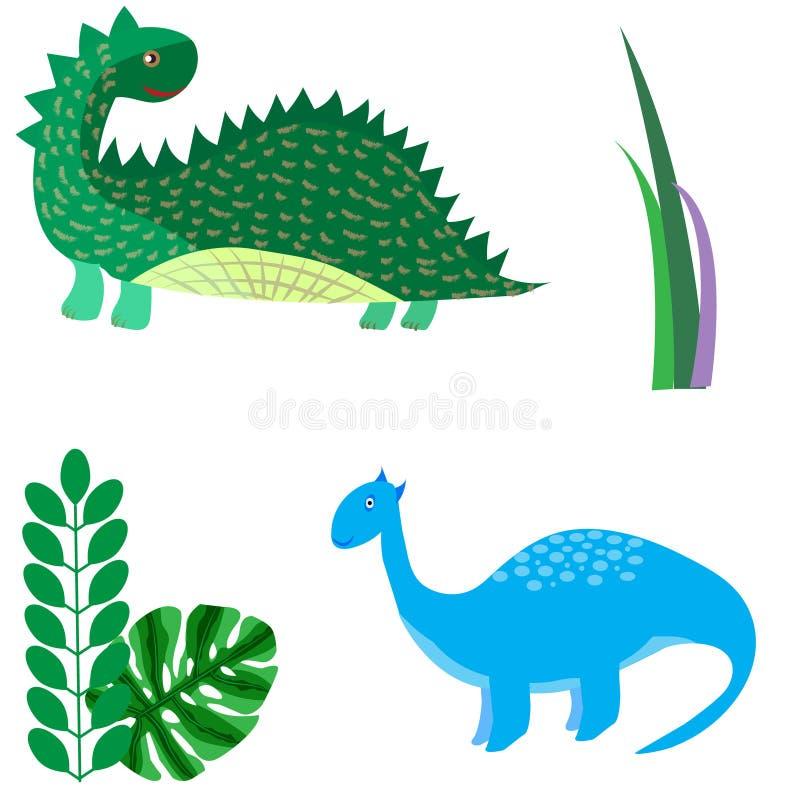 Kreskówka dinosaurów wektorowego ilustracyjnego potwora Dino zwierzęcy prehis royalty ilustracja