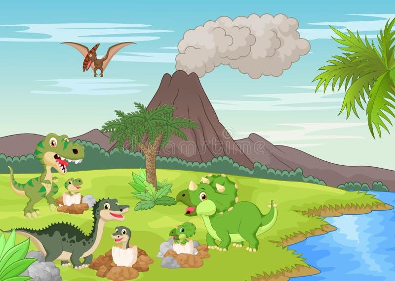Kreskówka dinosaur gniazduje ziemię ilustracji