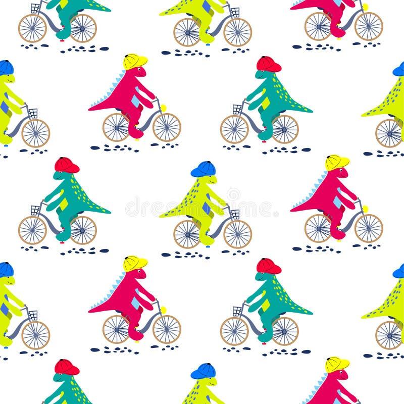 Kreskówka dinosaur na roweru bezszwowym wzorze Dino dziecka charaktery jedzie bicykle wektorowych na białym tle royalty ilustracja
