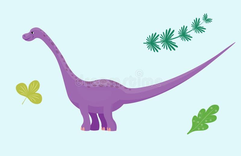 Kreskówka dinosaura diplodokusa wektorowego ilustracyjnego potwora Dino charakteru gada zwierzęcy prehistoryczny drapieżnik royalty ilustracja