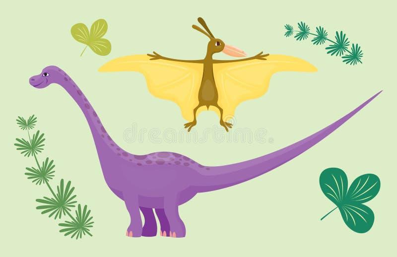 Kreskówka dinosaura pterodaktyla diplodokusa wektorowego ilustracyjnego potwora Dino charakteru zwierzęcy prehistoryczny gad ilustracja wektor