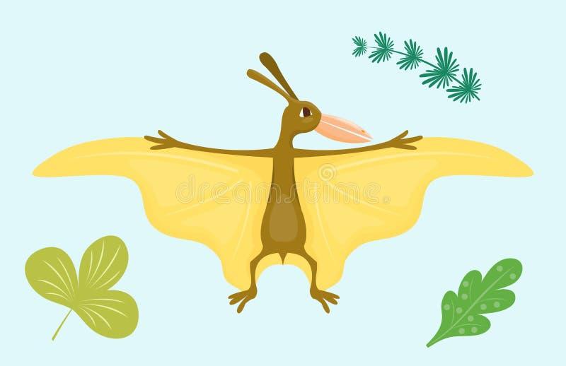 Kreskówka dinosaura pterodaktyla wektorowego ilustracyjnego potwora Dino charakteru gada zwierzęcy prehistoryczny drapieżnik ilustracja wektor