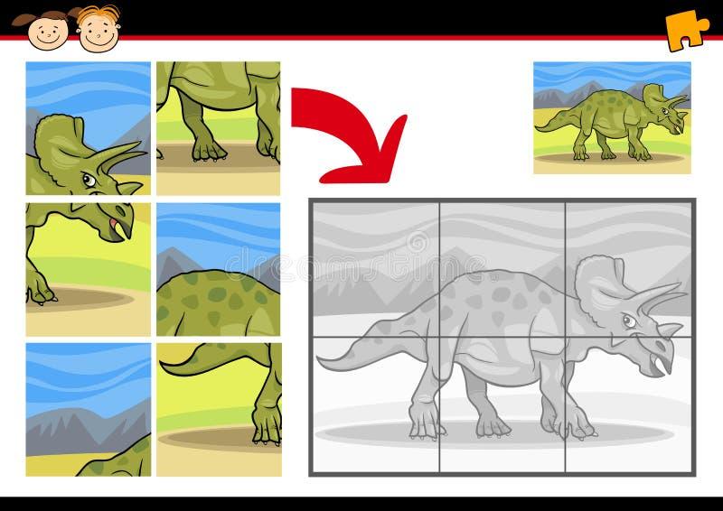 Kreskówka dinosaura wyrzynarki łamigłówki gra ilustracja wektor