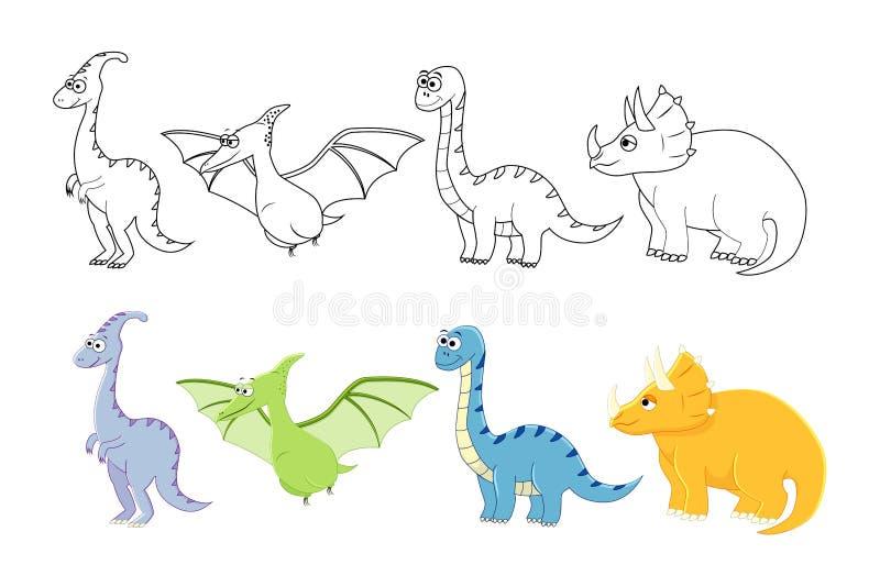 Kreskówka dinosaury ustawiający Kolorystyki książki strony dla dzieciaków Wektorowa bolączka royalty ilustracja