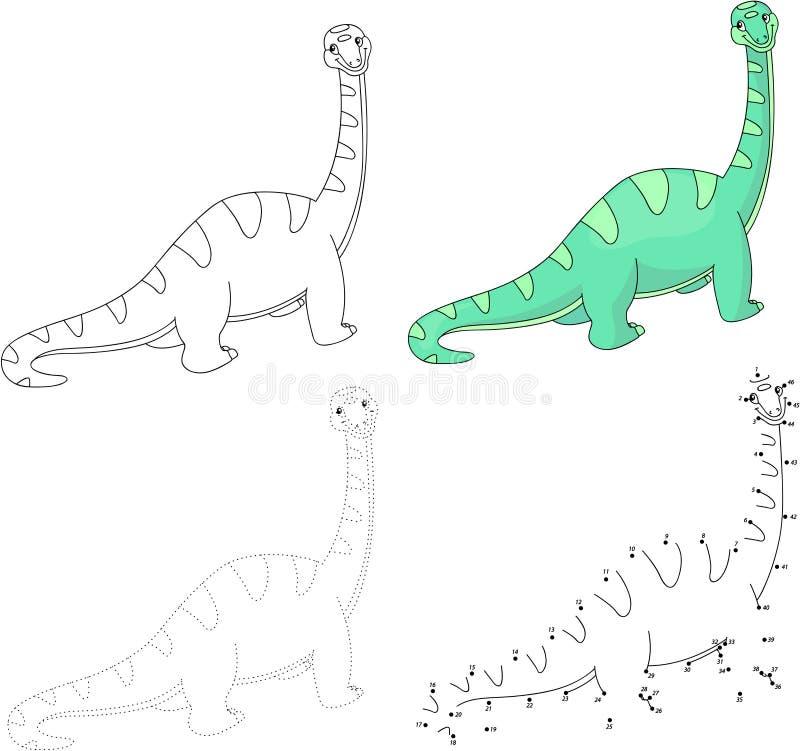 Kreskówka diplodokus również zwrócić corel ilustracji wektora Kropka kropkować grę dla dzieciaka ilustracja wektor