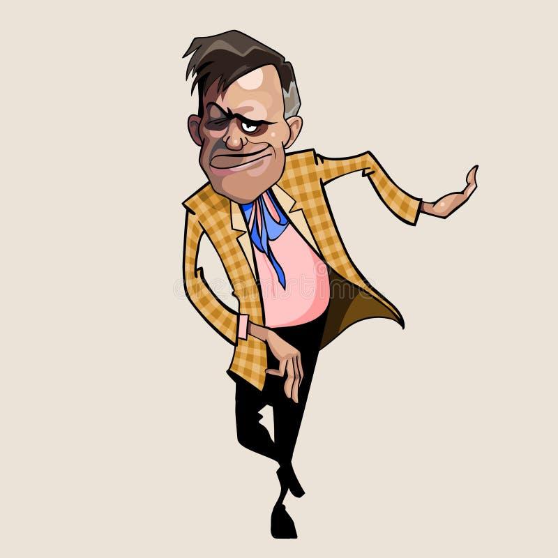 Kreskówka dokuczający mężczyzna jest w szkockiej kraty kurtce royalty ilustracja