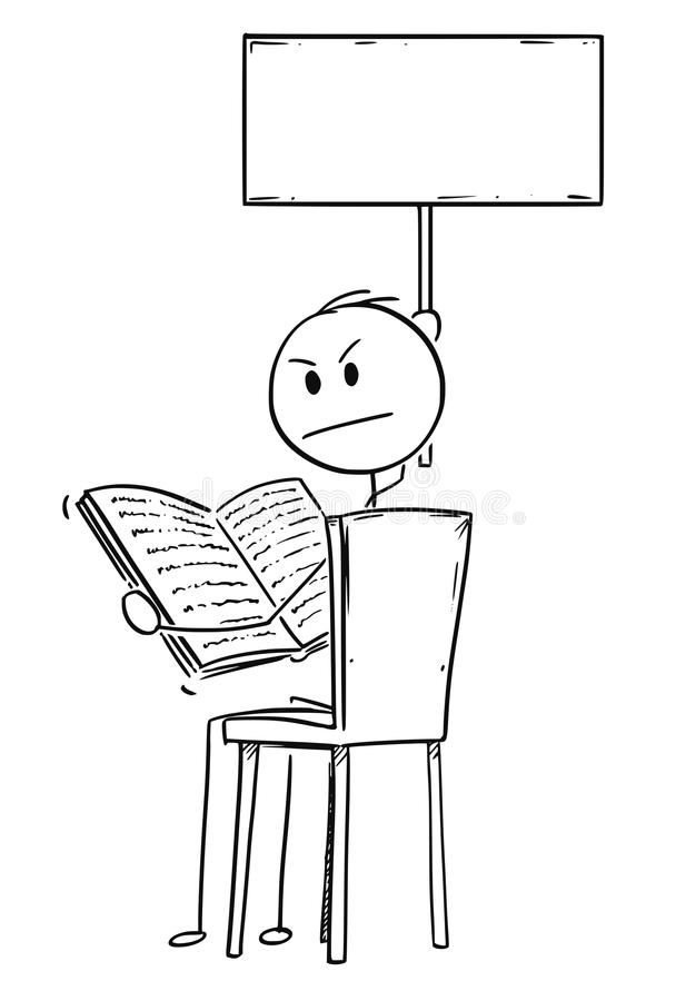 Kreskówka Dokuczający mężczyzna obsiadanie na krześle i czytaniu książki i mienia Pusty znak royalty ilustracja