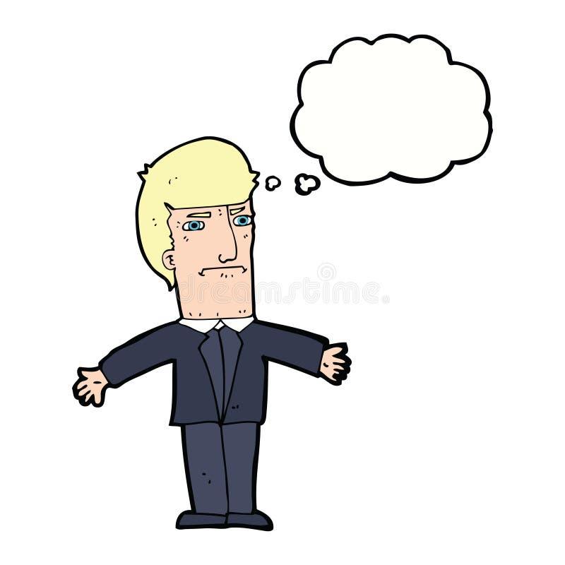 kreskówka dokuczający szef z myśl bąblem ilustracja wektor