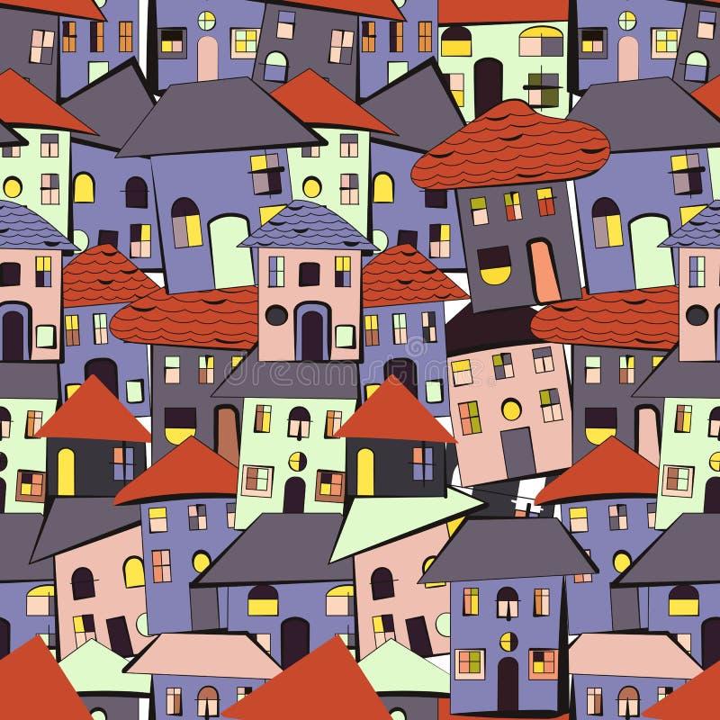 Kreskówka domów wzór royalty ilustracja
