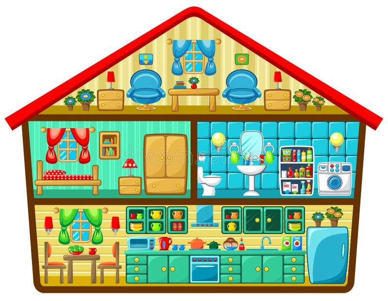 Kreskówka dom w cięciu ilustracji