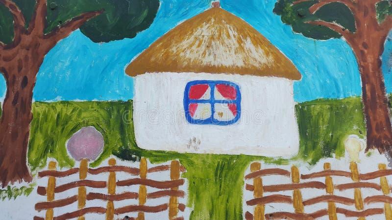 Kreskówka dom w etnicznym stylu Autentyczny projekt ilustracja wektor