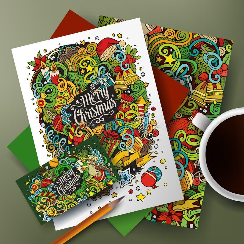 Kreskówka doodles nowy rok korporacyjnej tożsamości set ilustracja wektor