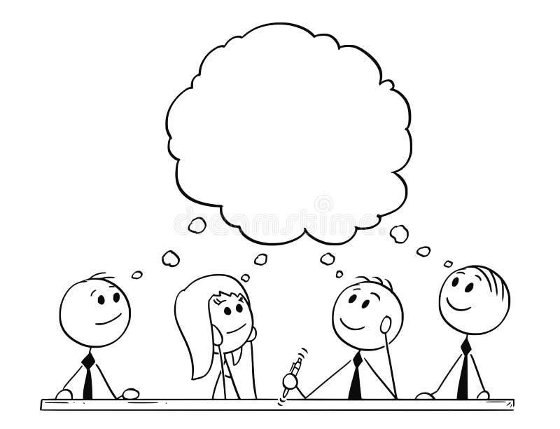 Kreskówka drużyna biznesmeni Podczas Brainstorming ilustracja wektor