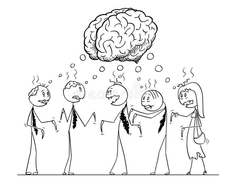 Kreskówka drużyna Pięć Undead żywego trupu biznesmenów Ma Brainstorming ilustracja wektor