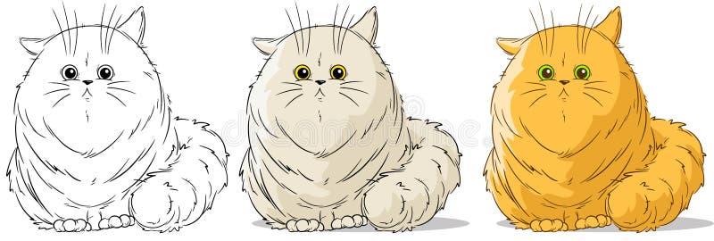 Kreskówka dużego kota wektoru śliczny siedzący set royalty ilustracja