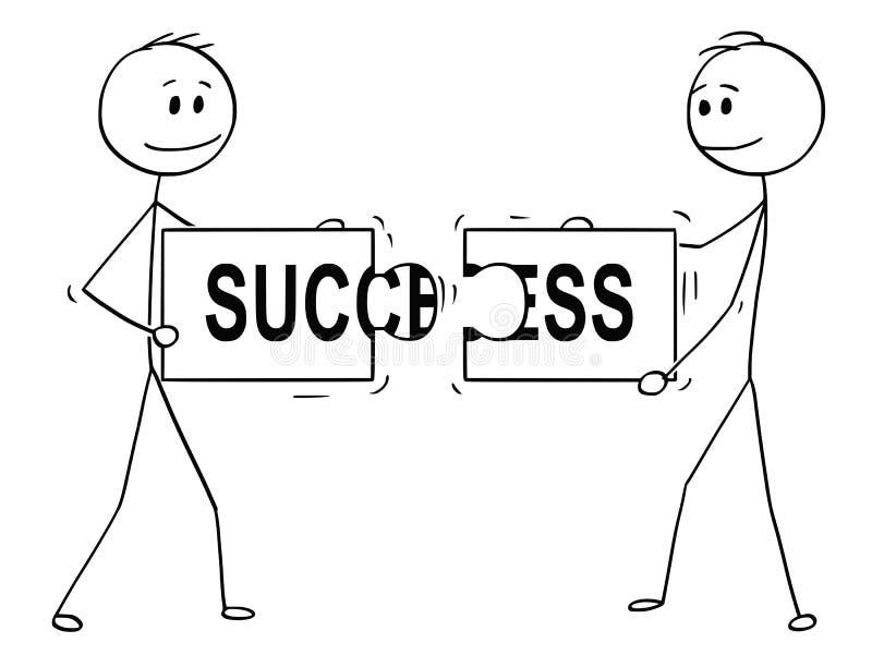 Kreskówka Dwa biznesmena Trzyma dopasowywanie kawałki wyrzynarki łamigłówka Z sukcesu tekstem i Łączy royalty ilustracja