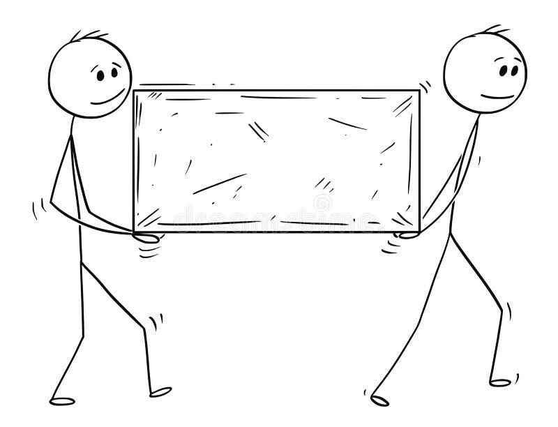 Kreskówka Dwa mężczyzna lub biznesmeni Niesie Dużego kamienia blok ilustracji
