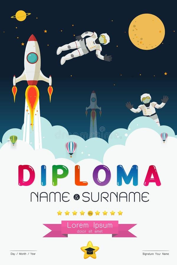 Kreskówka dyplomu astronautyczny projekt royalty ilustracja