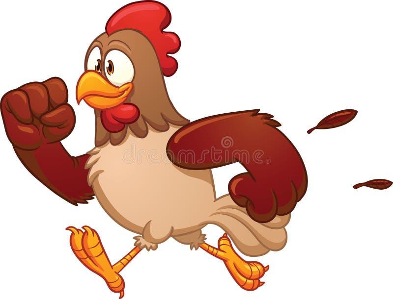 Kreskówka działający kurczak ilustracji