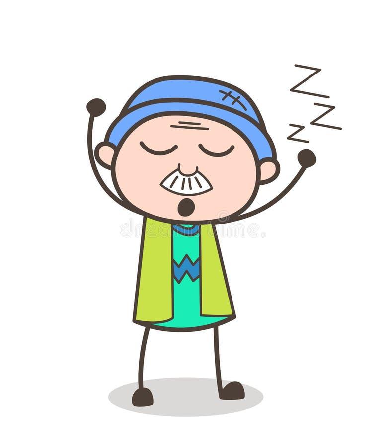 Kreskówka dziadunia wektoru Śpiący wyrażenie ilustracja wektor