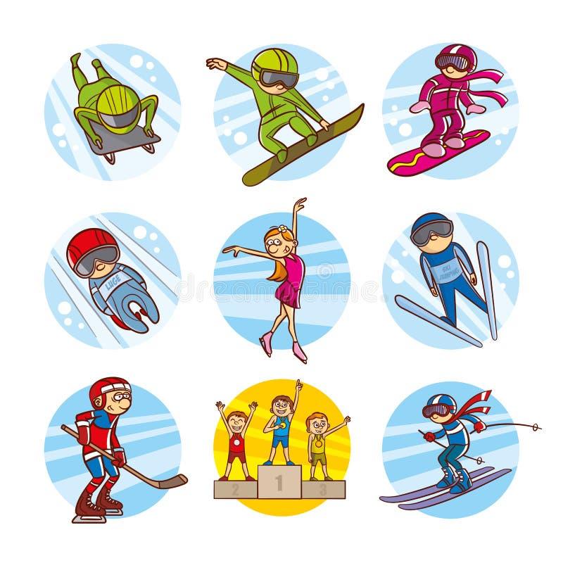 Kreskówka dzieciaków sporta klamerki ustalona Wektorowa sztuka ilustracji