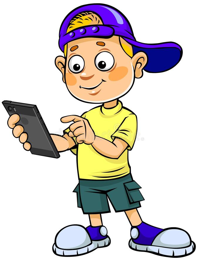 Kreskówka dzieciak z telefonem komórkowym ilustracja wektor