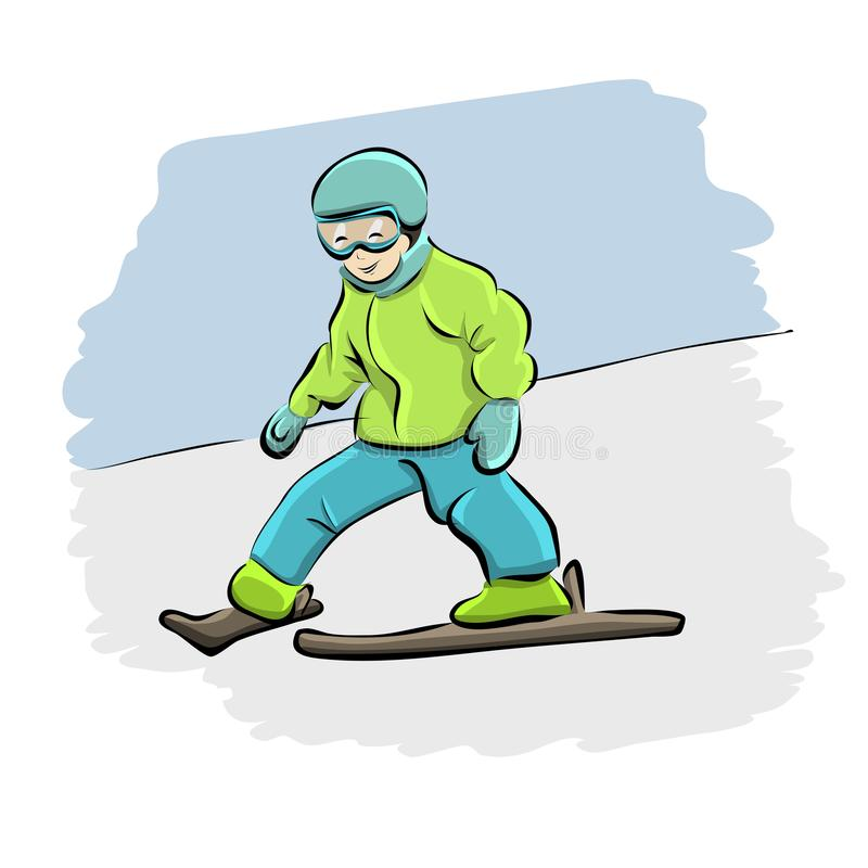 Kreskówka dzieciaka narciarstwo zjazdowy ilustracja wektor