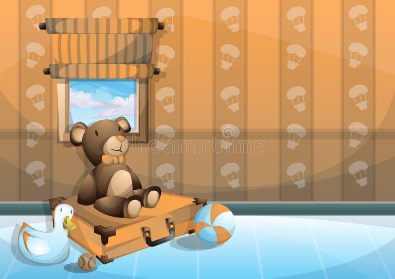 Kreskówka dzieciaka wektorowy ilustracyjny wewnętrzny pokój z oddzielonymi warstwami ilustracji