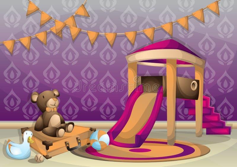 Kreskówka dzieciaka wektorowy ilustracyjny wewnętrzny pokój z oddzielonymi warstwami ilustracja wektor